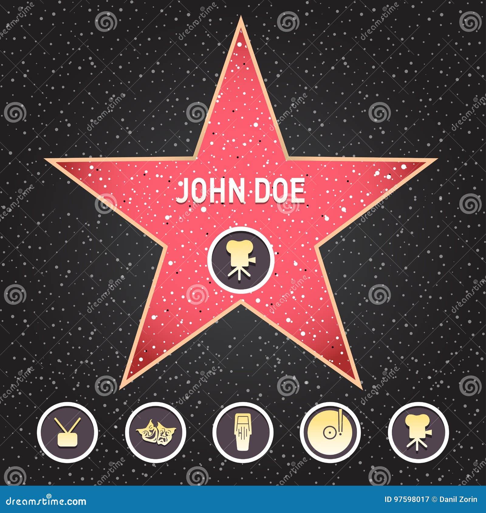 Star d Hollywood La promenade de l étoile de renommée avec des emblèmes symbolisent cinq catégories Hollywood, trottoir célèbre,
