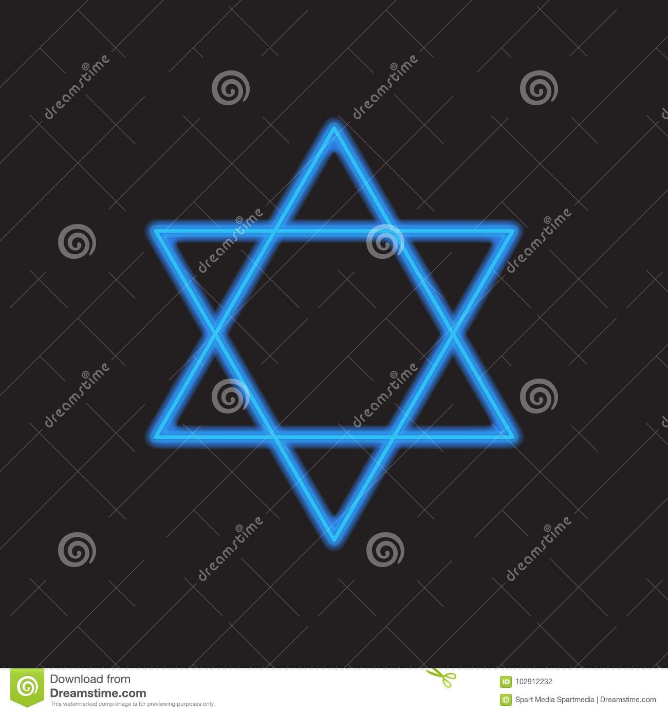 Neon star of David wallpaper with copy space for text. David`s star Jewish Holiday symbol blue colorDavid`s star Web sign blurred on dark background, ...