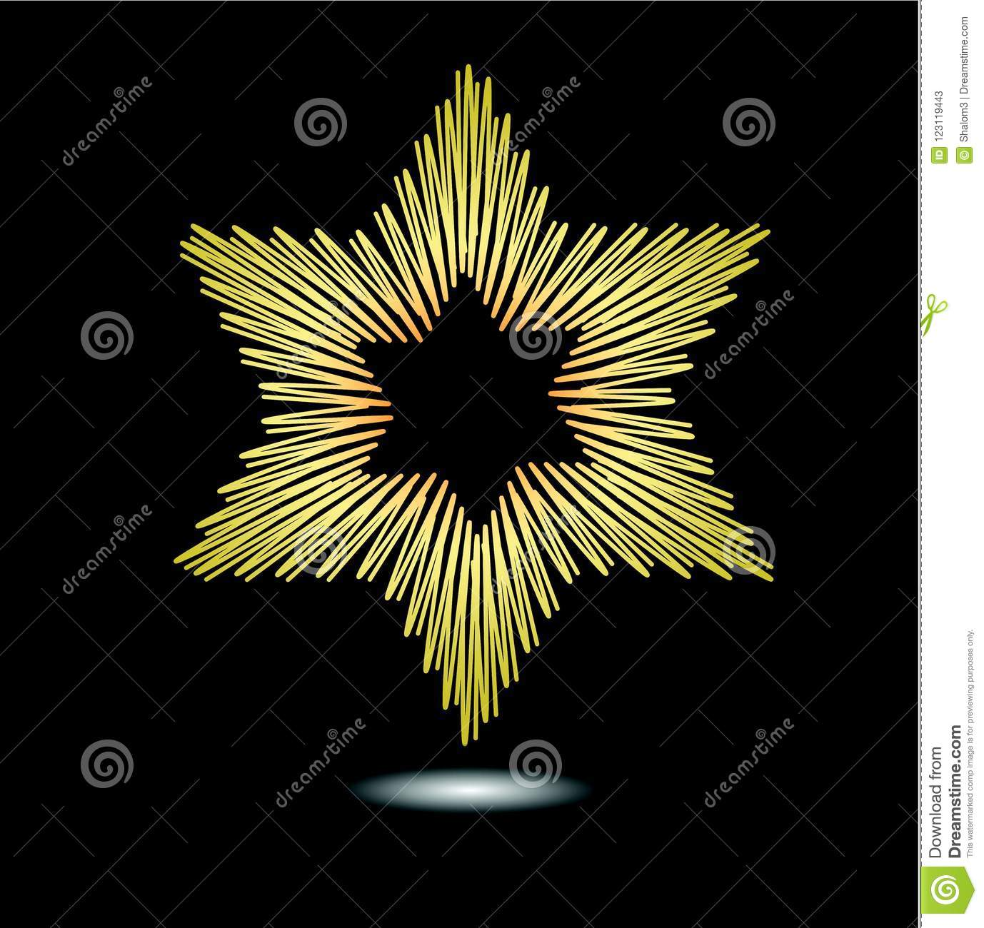 Star of David, jewish religion symbole, golden star with light effect isolated on black background. Drawing in modern grunge style