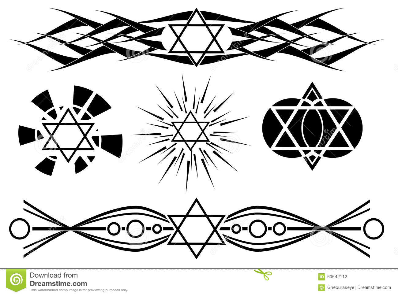 Star of david tattoo in black isolated stock vector for Star of david tattoo designs