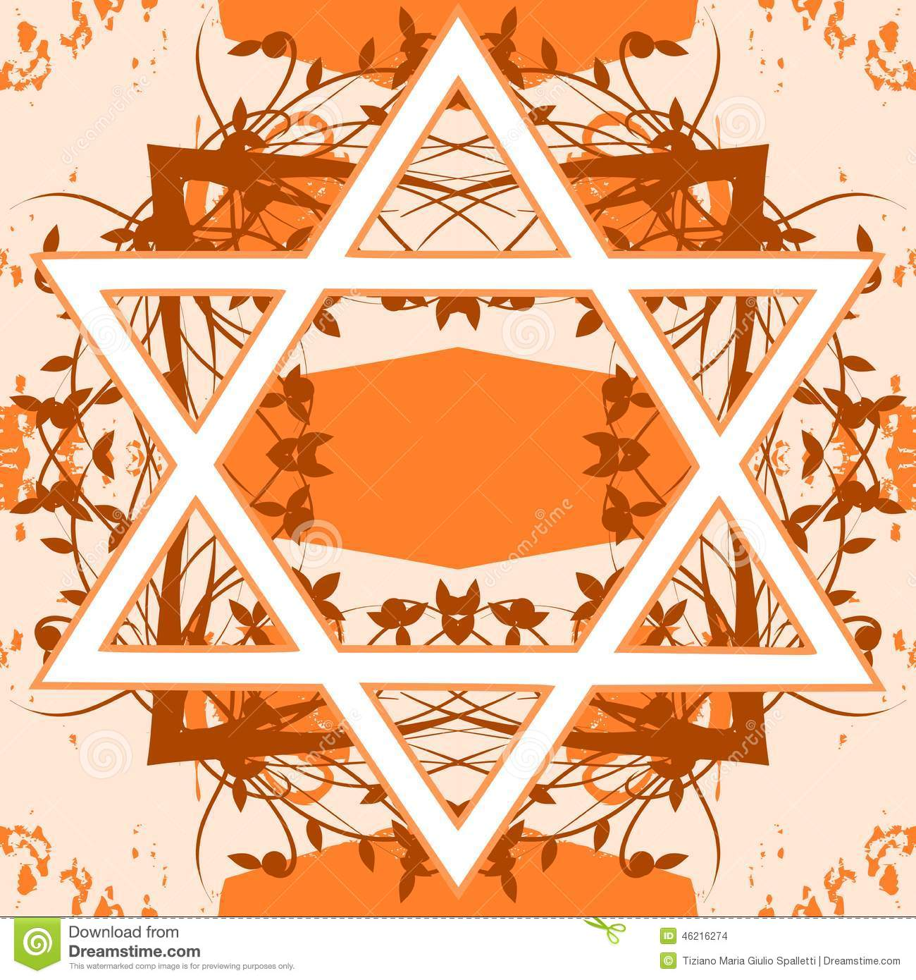 Star Of David Tattoo On Floral Background Stock Vector