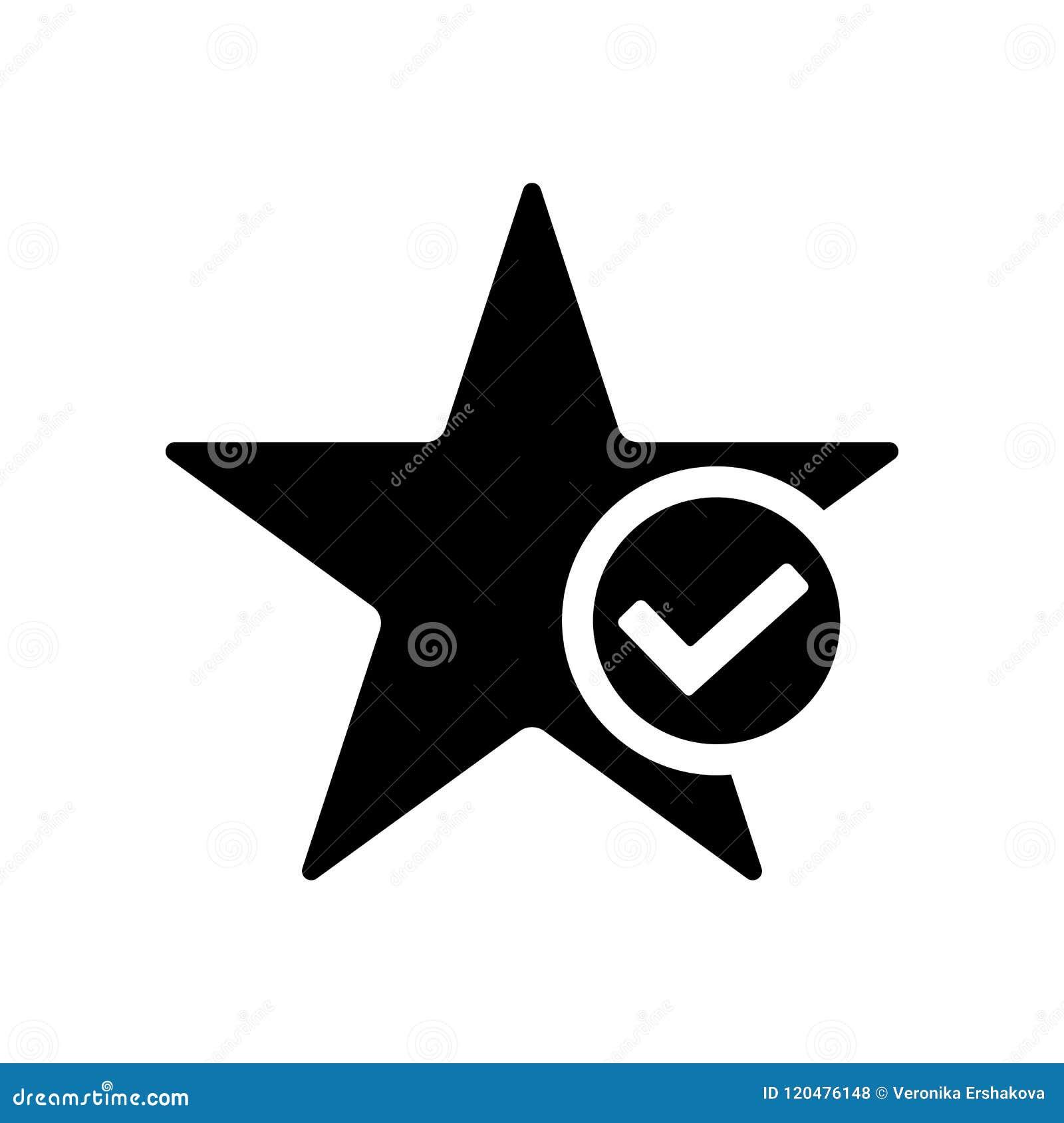 Star Favorite Icon Star With Tick Symbol Stock Illustration