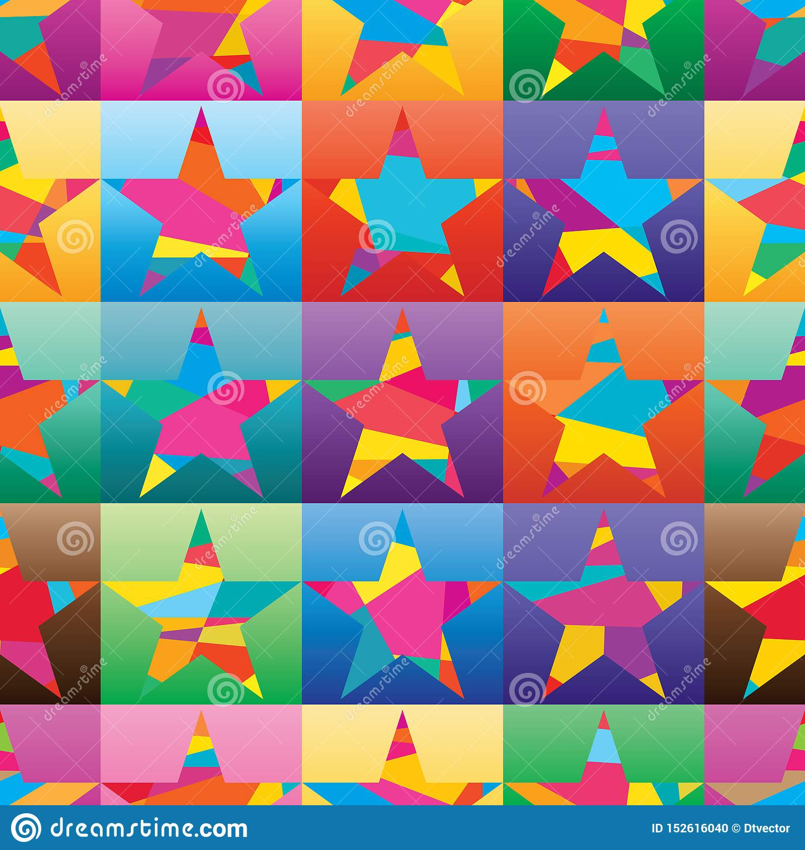 Star flat wear fashion color shirt square colorful seamless pattern