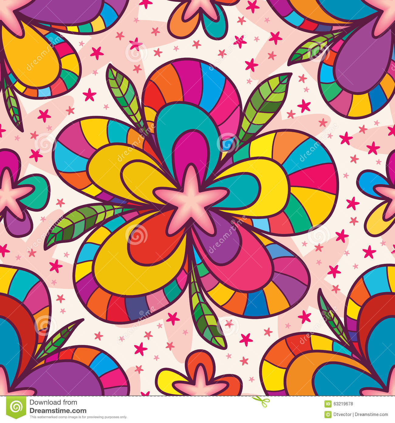 Star Flower Drawing Seamless Pattern Stock Vector ...
