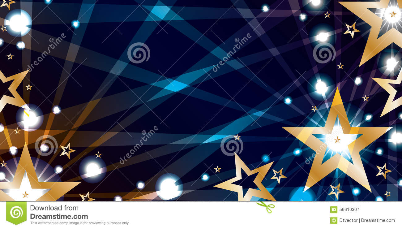 star gold blue night banner stock vector