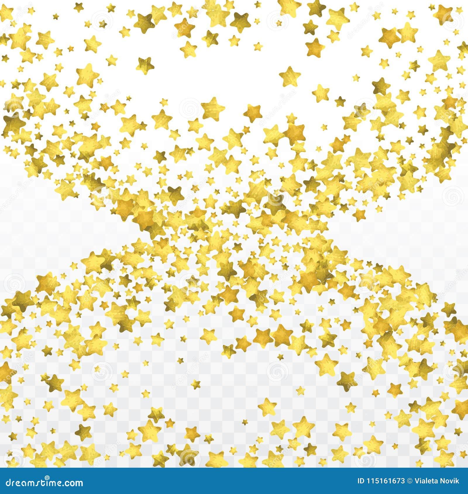 Star gold confetti. Celebrate background. Golden sparkles and dots on black backdrop.