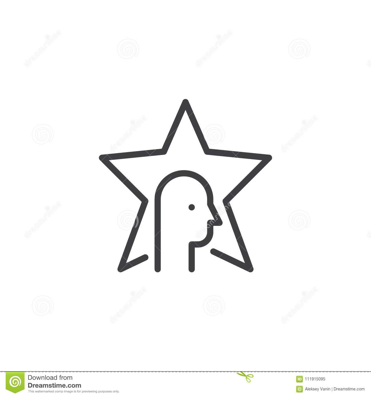 Simple star badge vector outline essay about the world star and head outline icon stock vector illustration of single star head outline icon linear style sign mobile concept web design celebrity simple line sciox Gallery