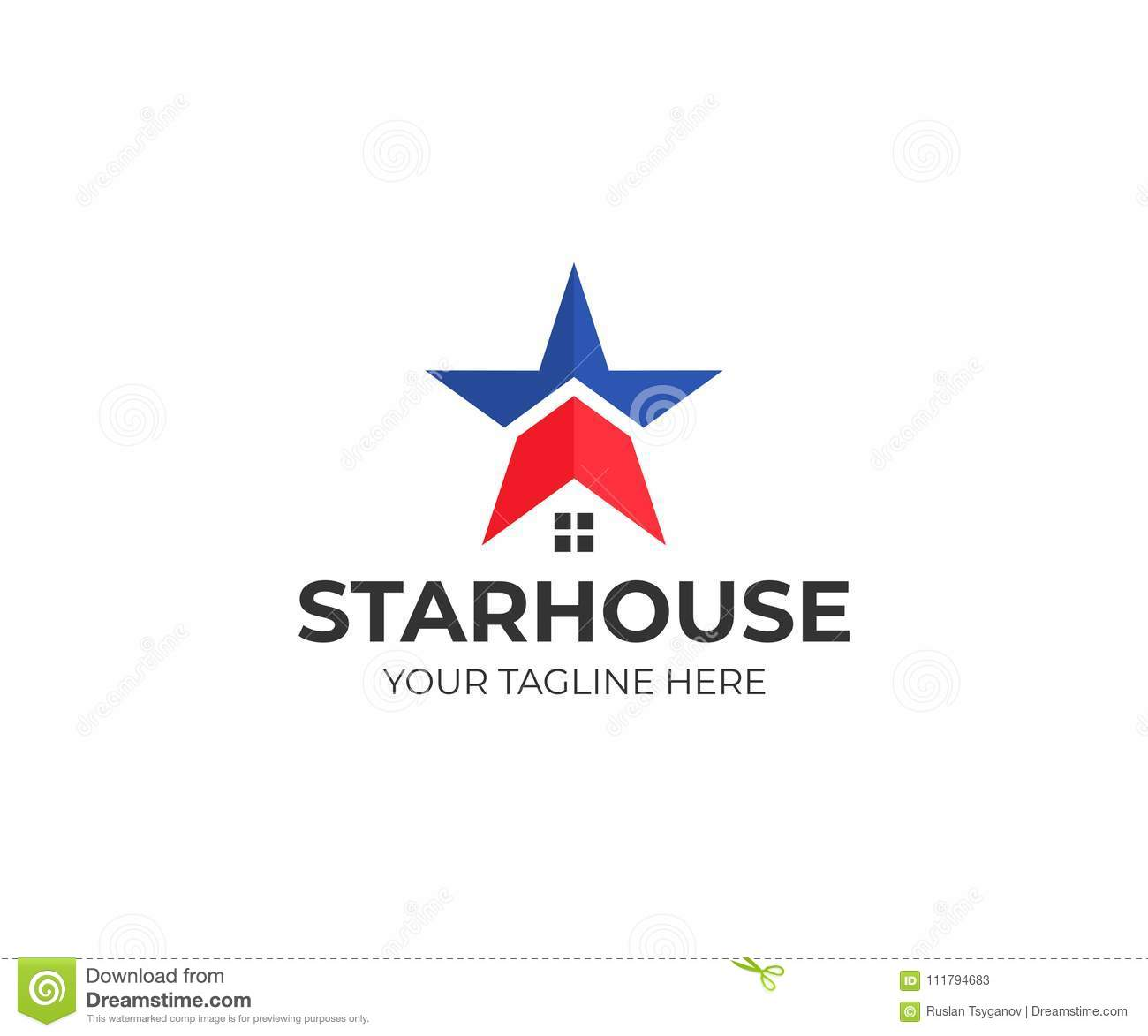 Star and house logo template. American house vector design