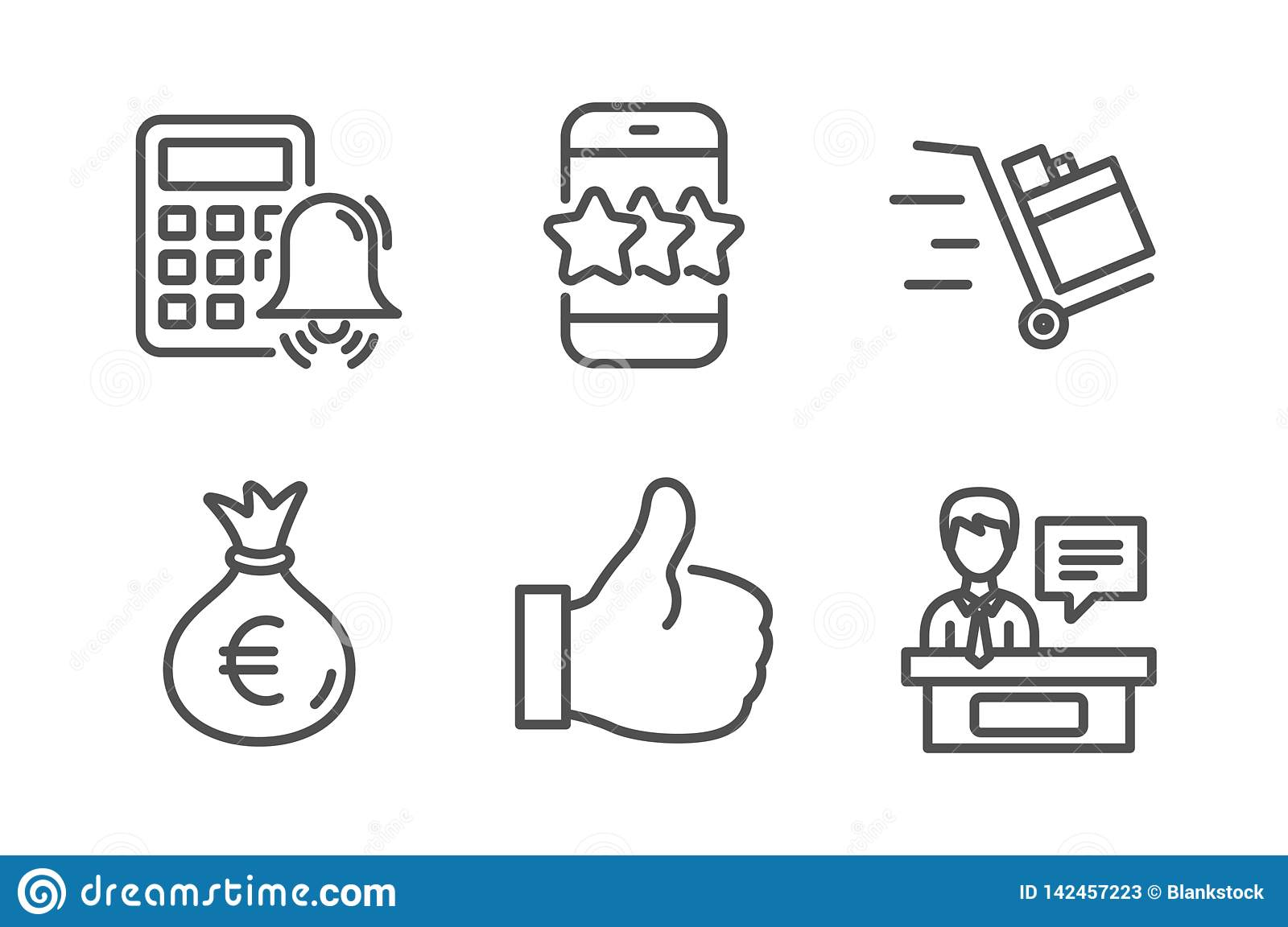 star, like and calculator alarm icons simple set  push cart, money bag and  exhibitors signs  phone feedback, thumbs up  business set  line star icon