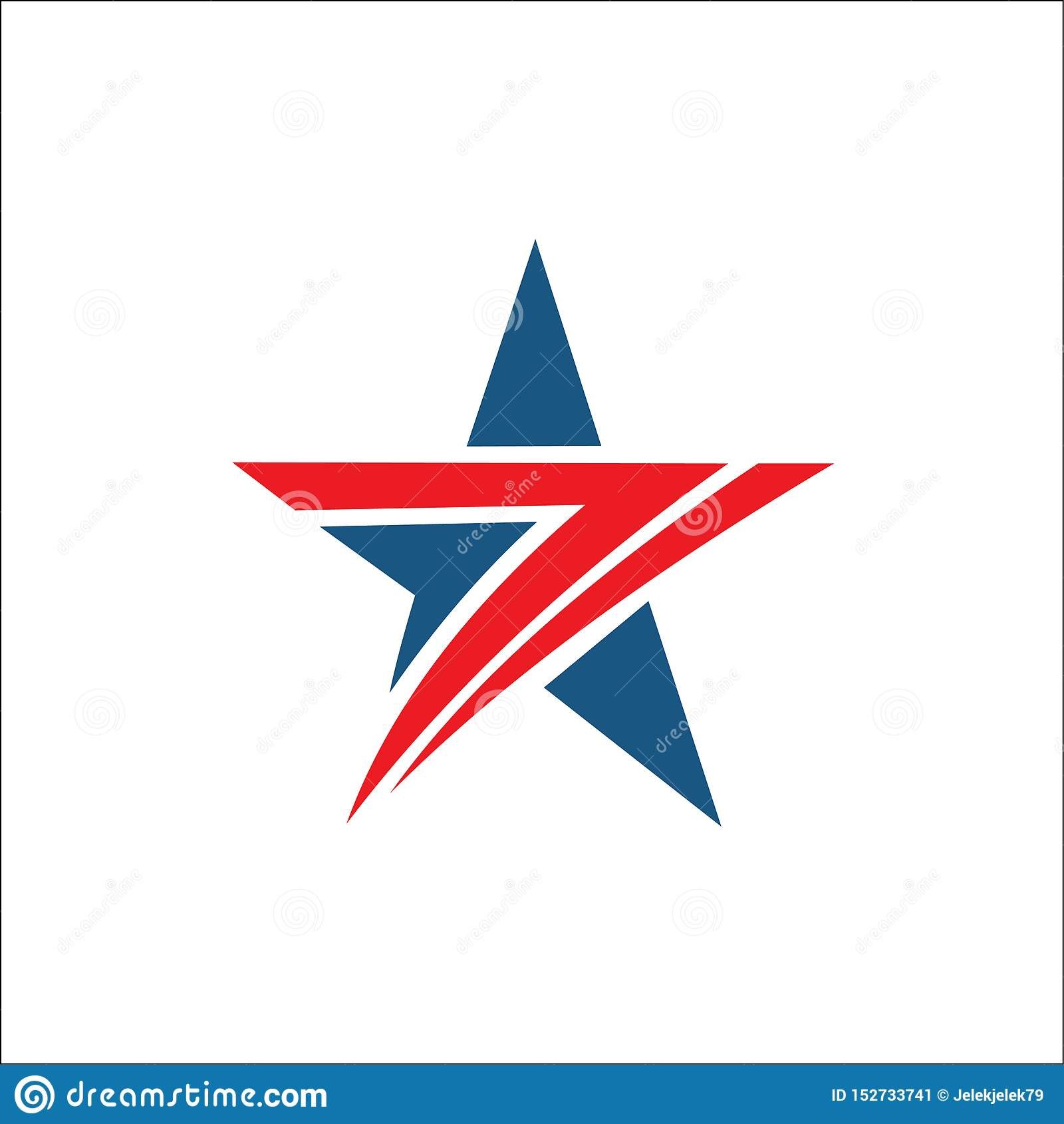Star logo abstract red and blue color
