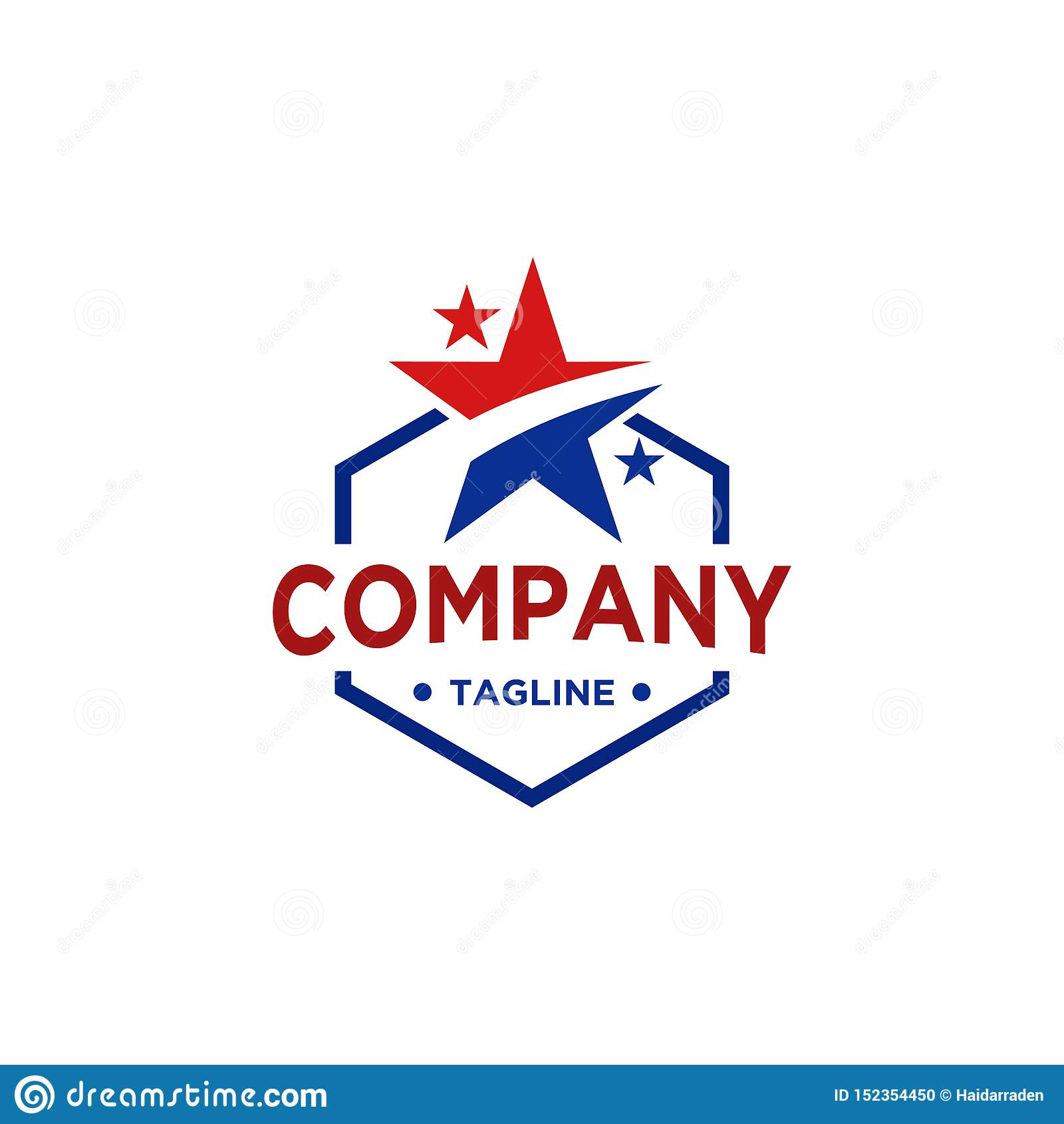 Star logo design with red and blue color