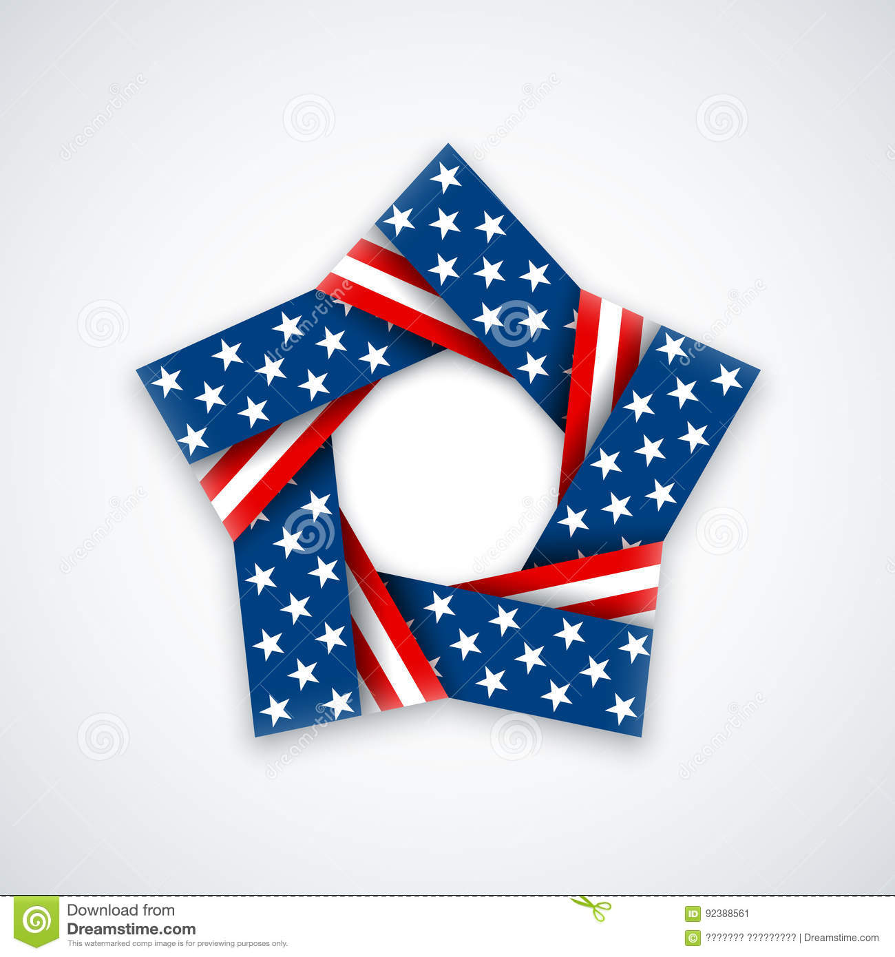 fe40dea9986 Star made of double ribbon with american flag colors and symbols. Vector  illustration for USA national holidays.