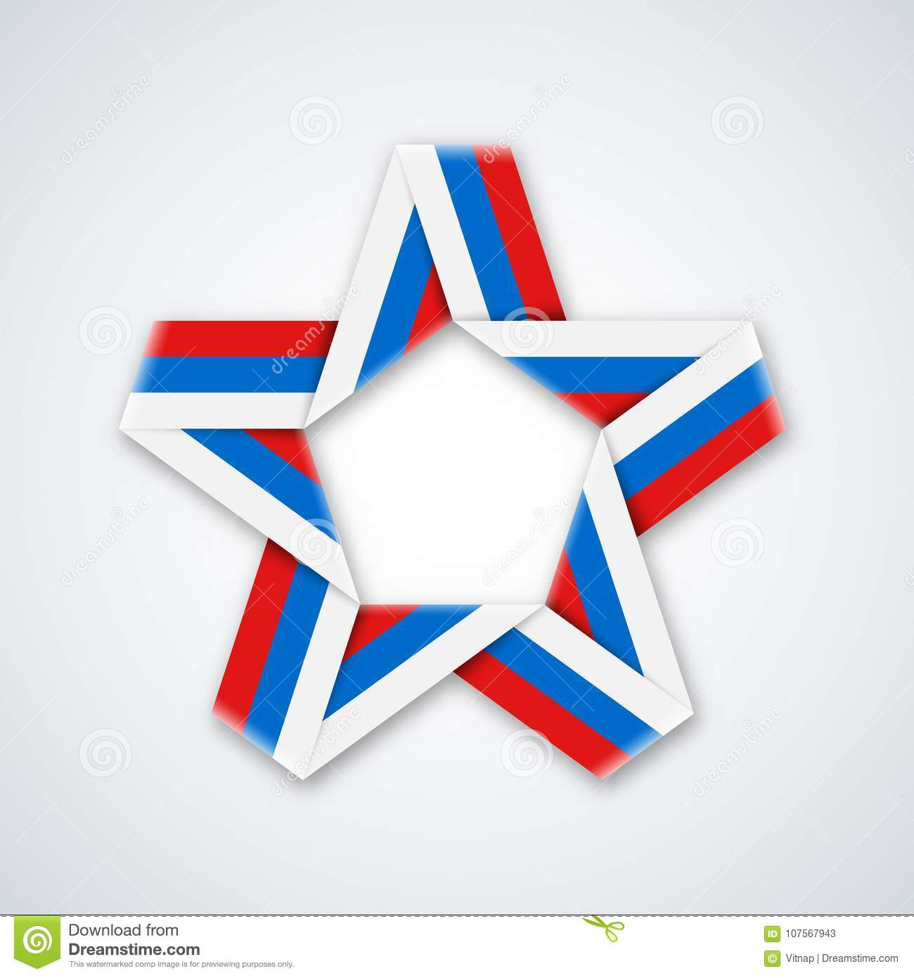 92b6d2b0ad2 Star Made Of Double Ribbon With Russian Flag Colors. Stock Vector ...