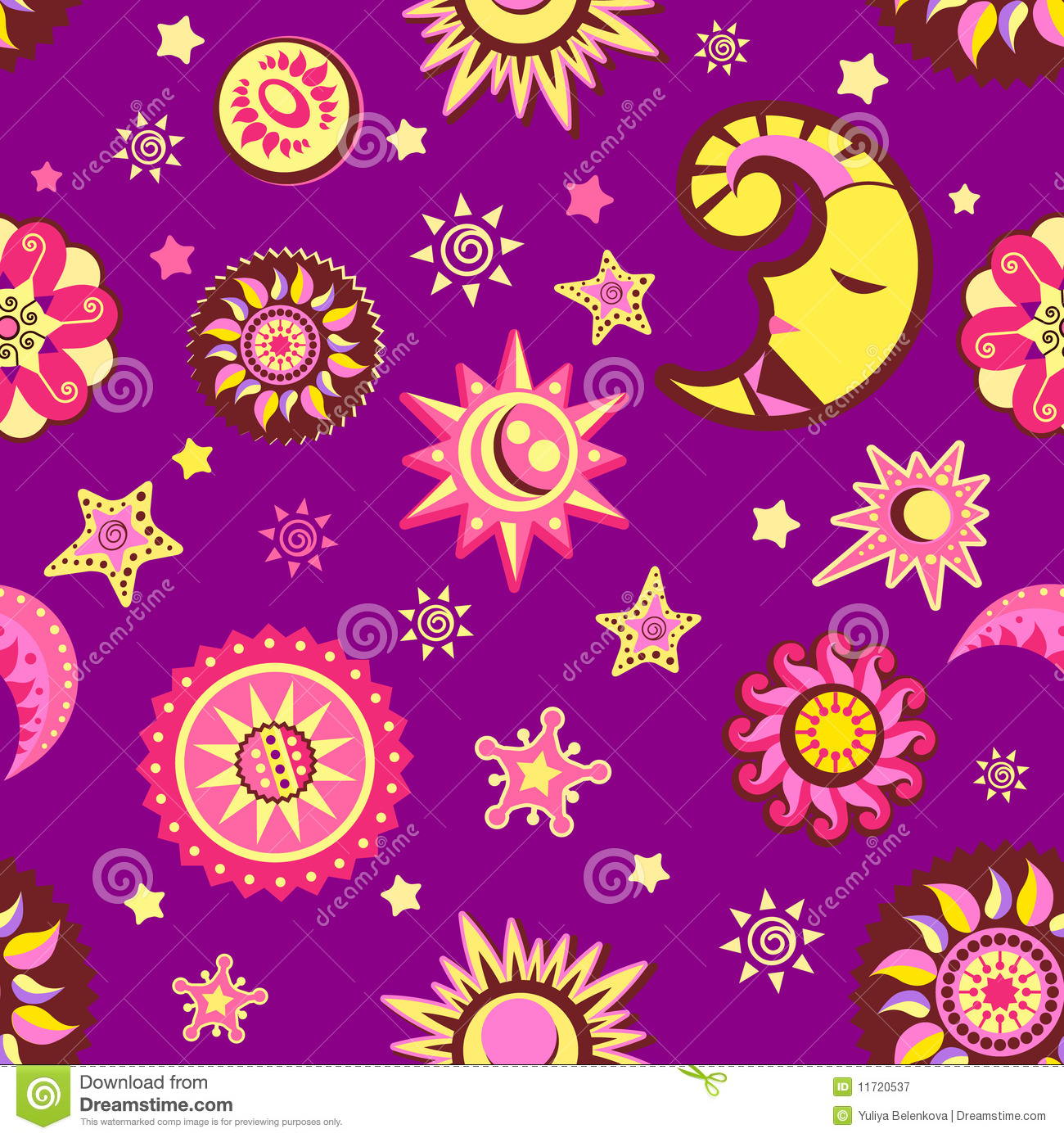 Star And Moon Seamless Pattern Royalty Free Stock