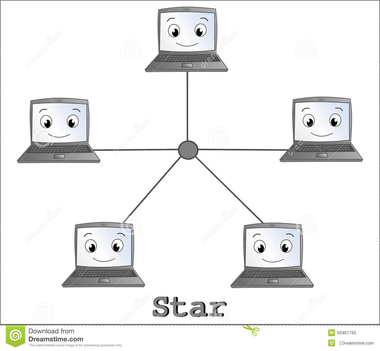 Star network topology connection with fun cartoon computer.
