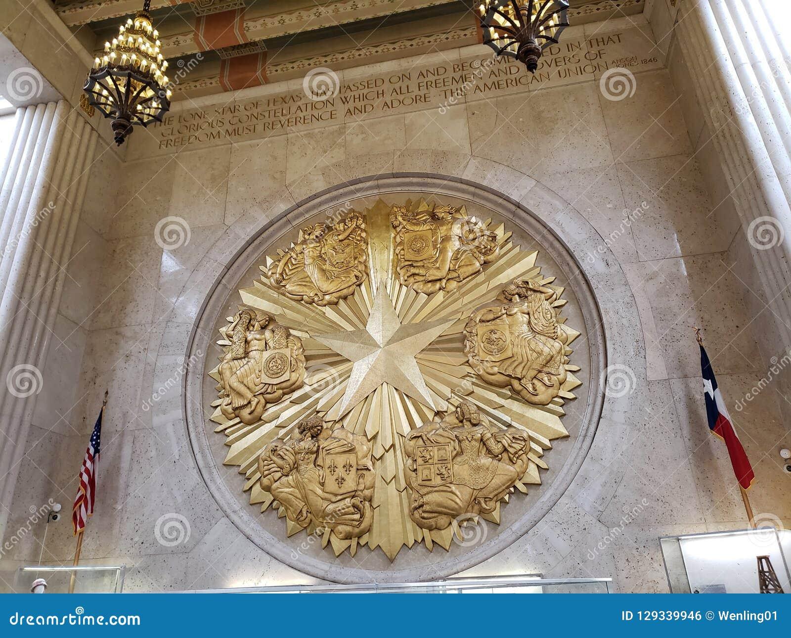 Star o símbolo em Texas Hall do estado que constrói no parque justo