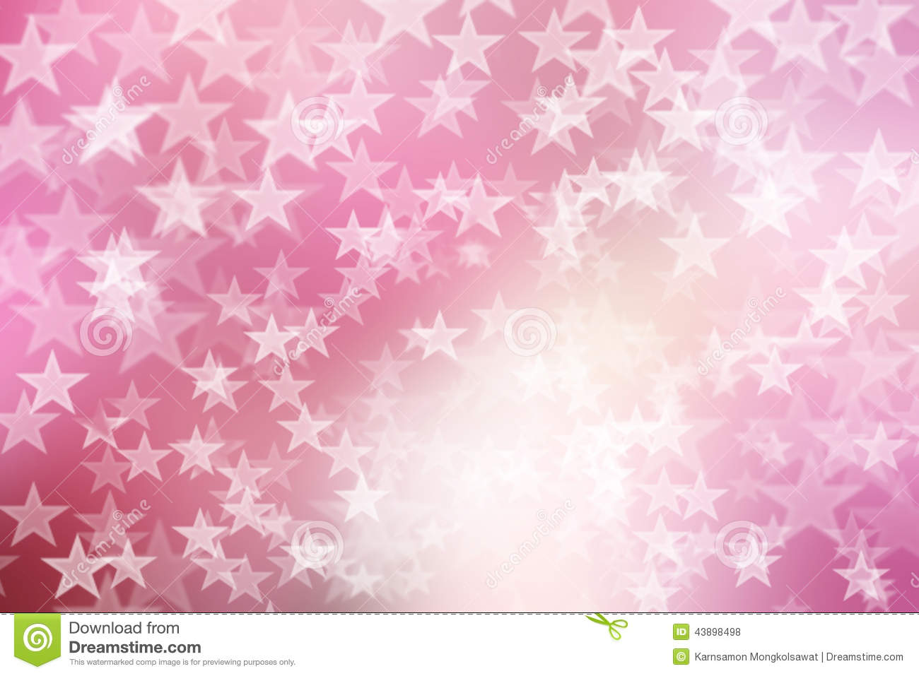 star on pink and white abstract bokeh background stock