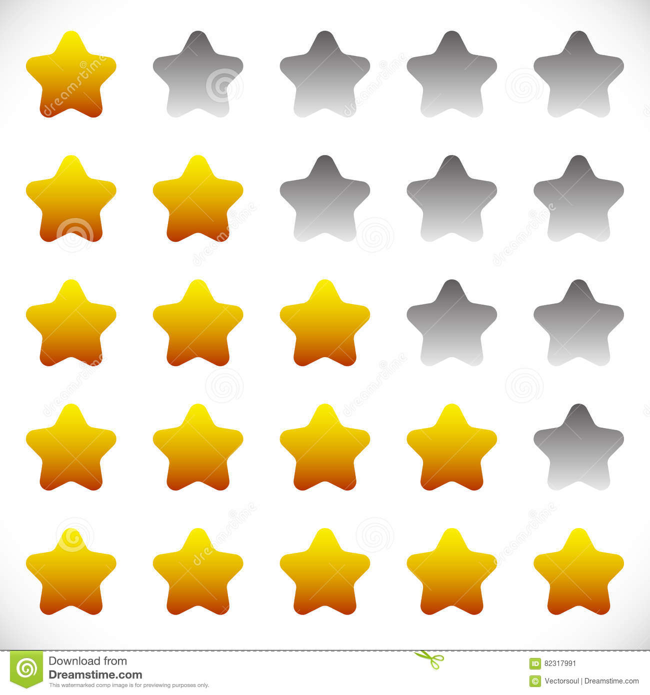 Star Rating Symbols With 6 Star. Quality, Feedback