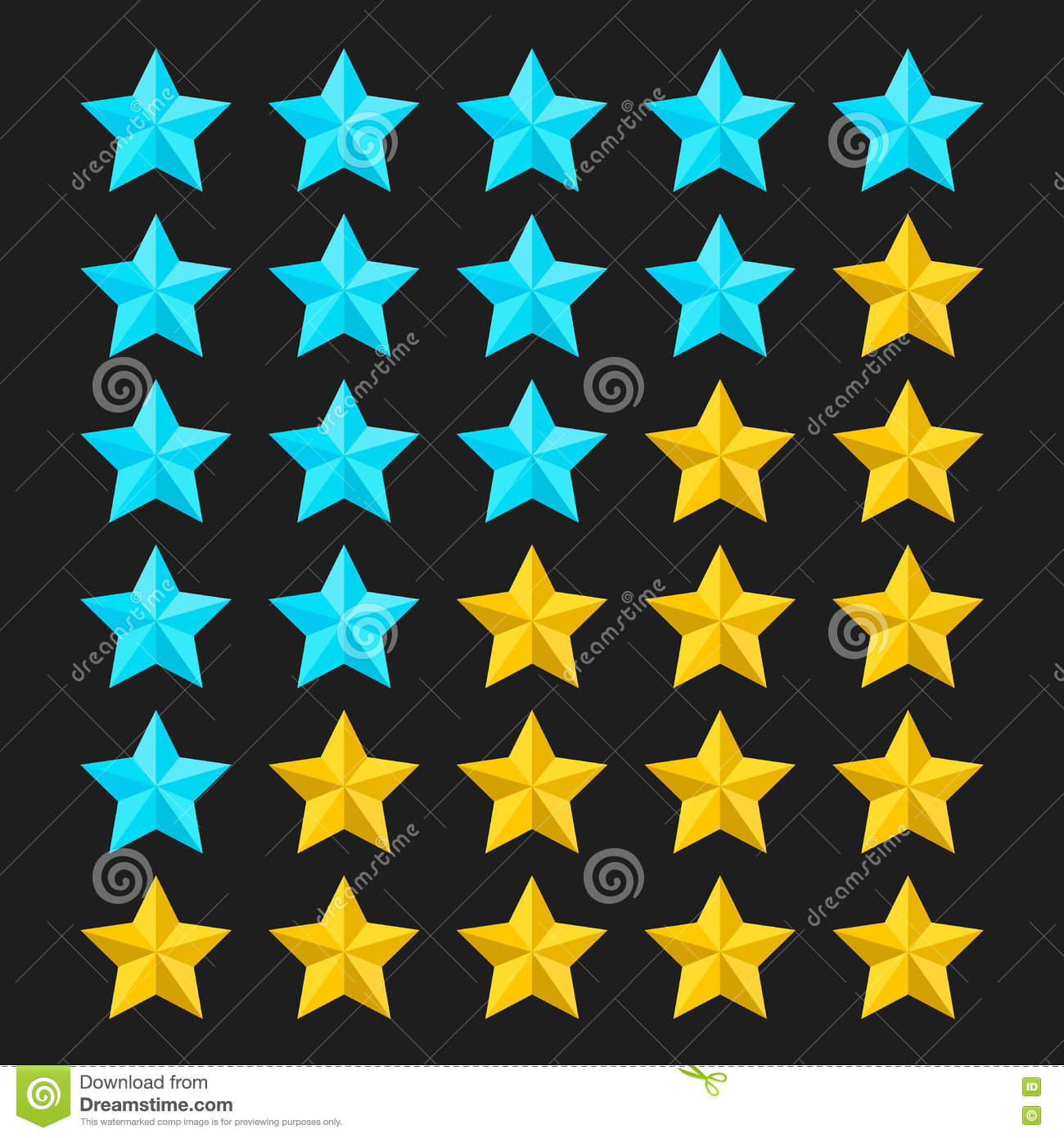star rating template with colored stars vector illustration stock