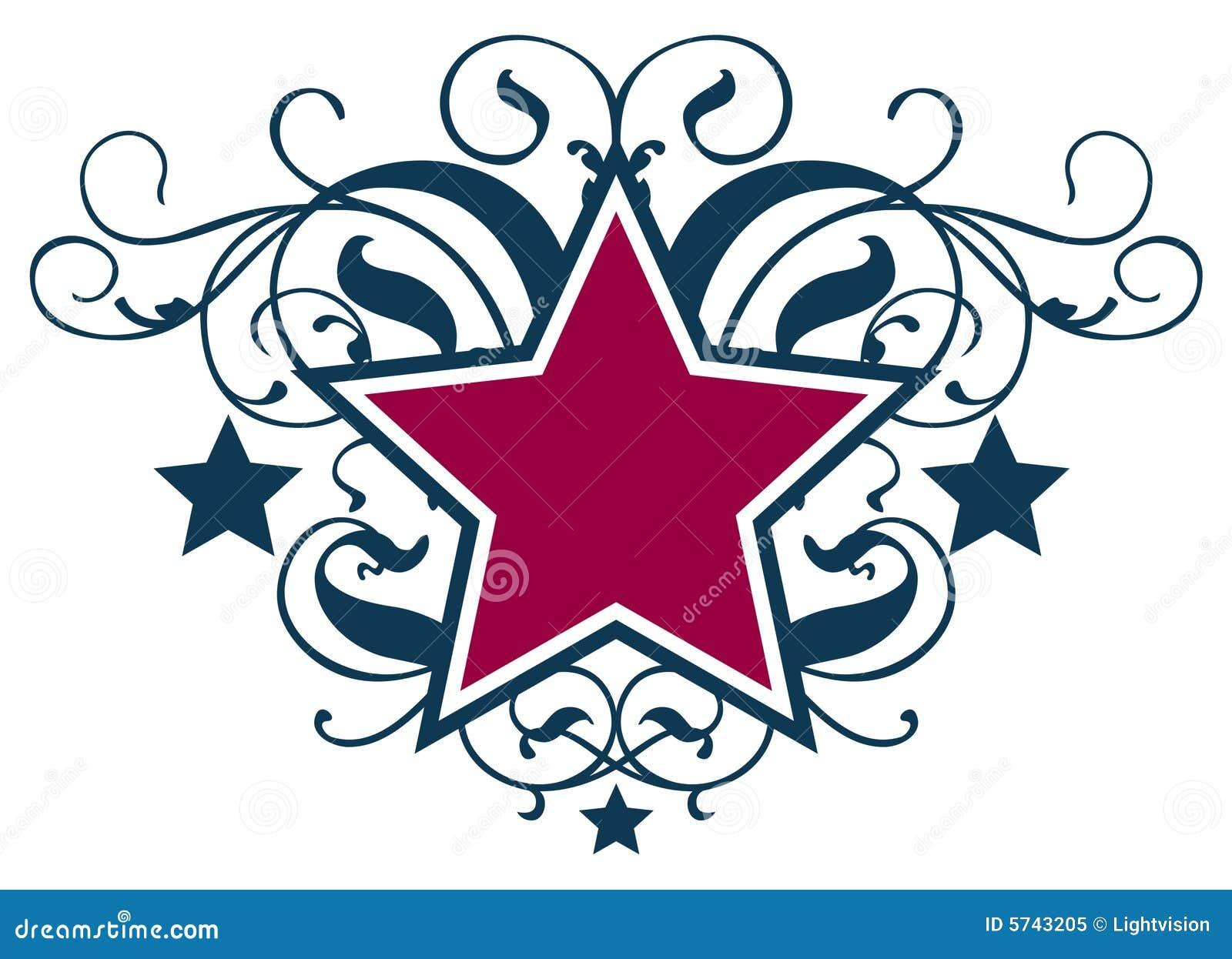 Star Scroll stock vector  Illustration of floral, flag - 5743205
