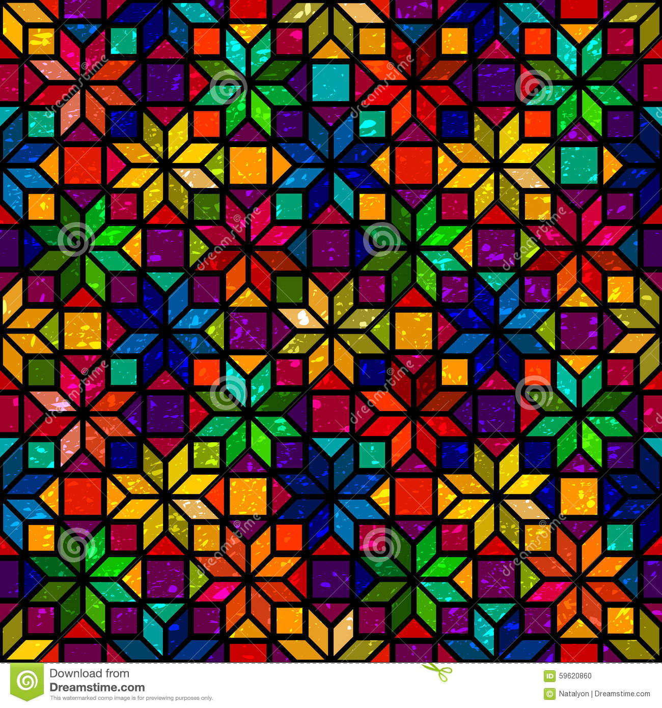 Star Shape Colorful Geometric Stained Glass Seamless Pattern Vector