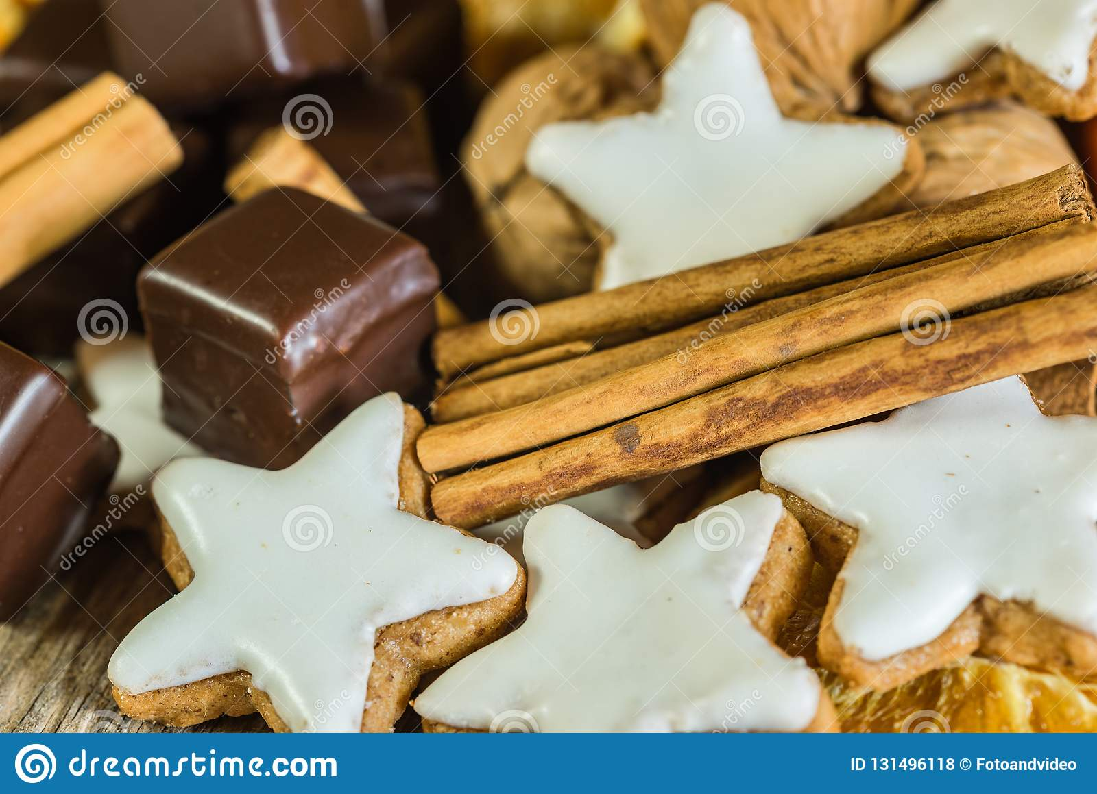 Star Shape Cookies Chocolates Nuts And Cinnamon Christmas Food