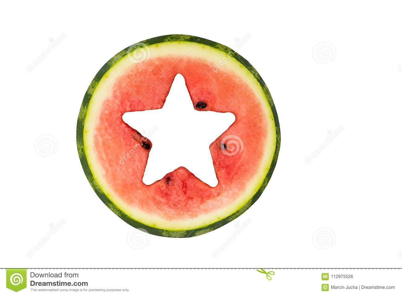 Star shape cut off in watermelon, isolated