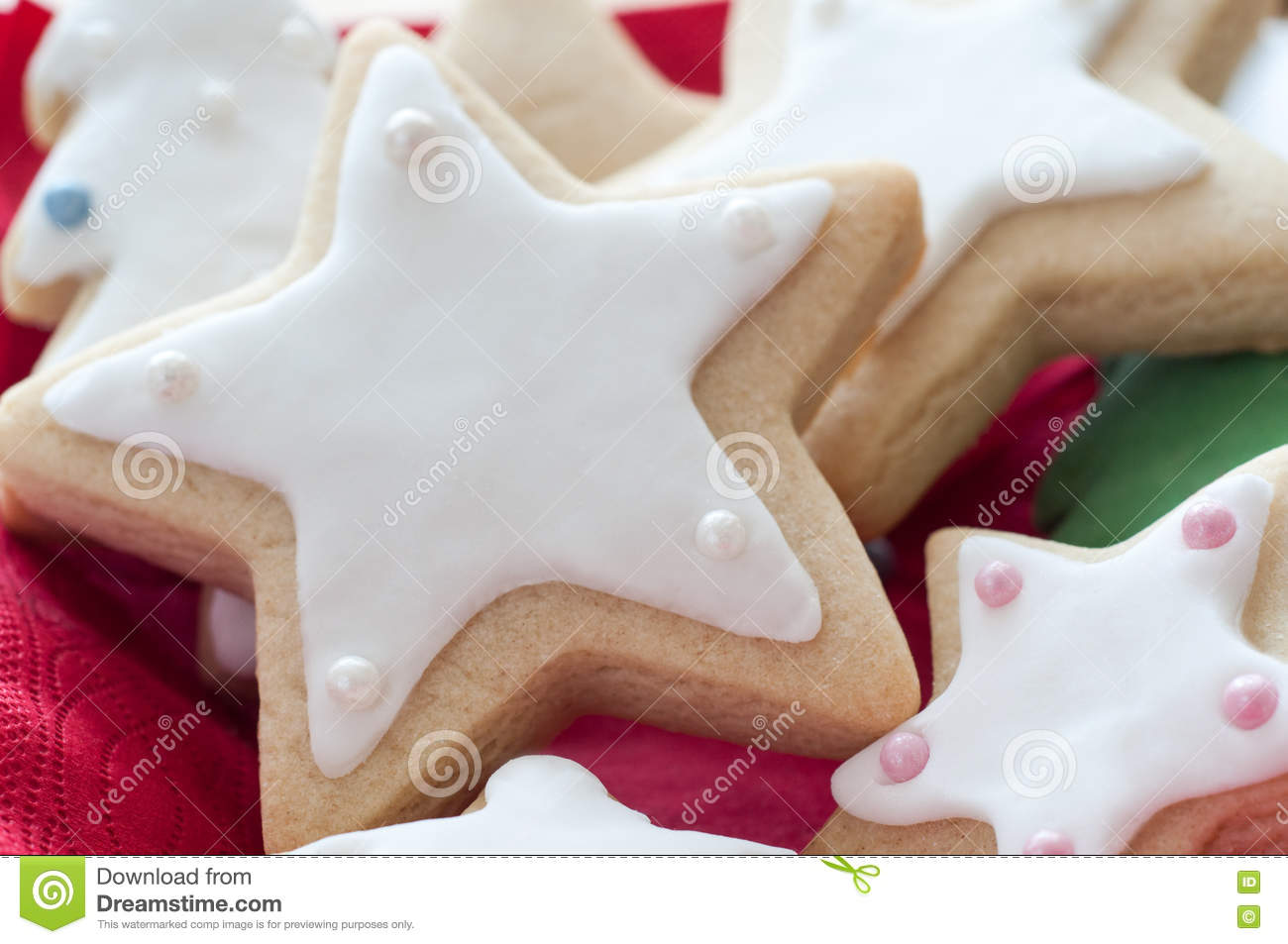 Star Shaped Christmas Biscuits With White Icing Stock Photo Image