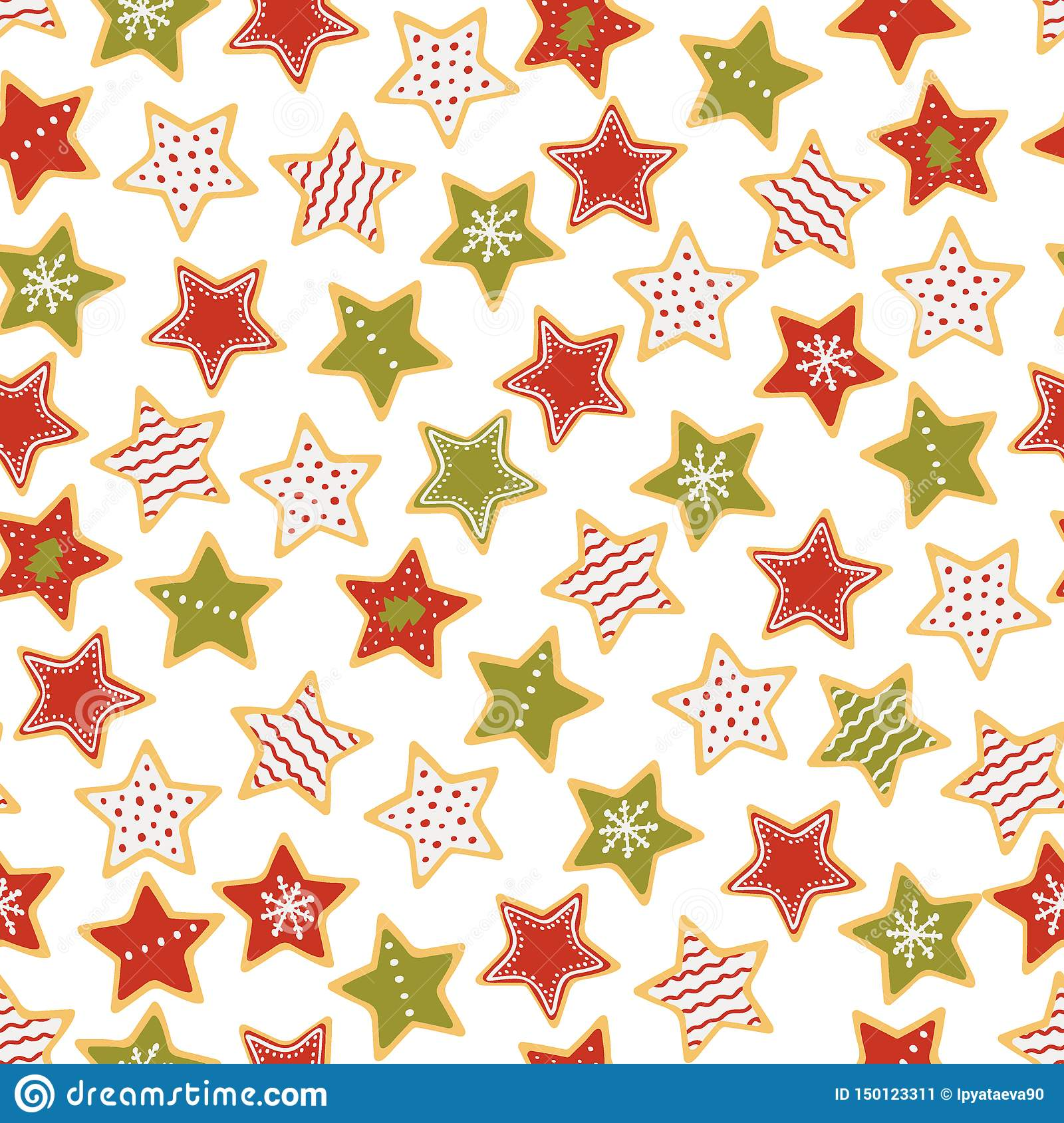 Star shaped Christmas gingerbread seamless pattern. Christmas sweets. Vector illustration.