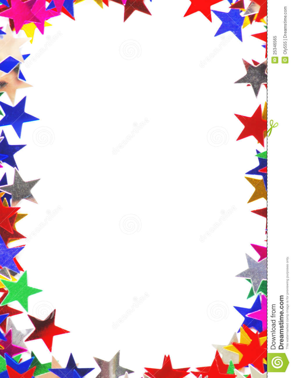Star shaped confetti of different colors frame royalty free stock