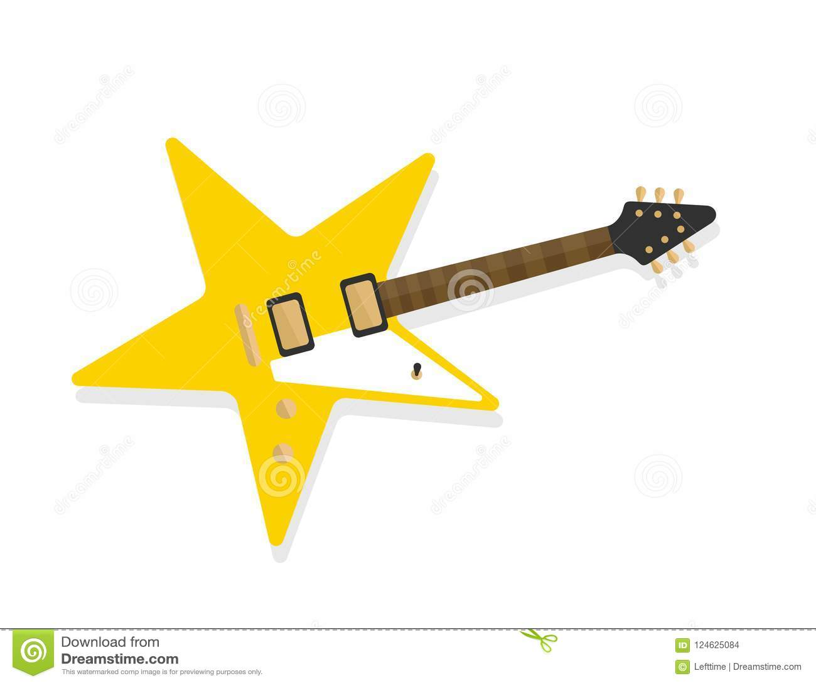 Star Shaped Electric Guitar Rockstar Symbol Concept Stock Vector