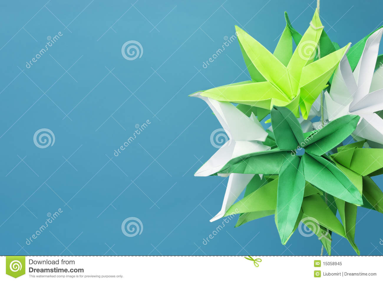 Star Shaped Origami Flowers Stock Image Image Of Cyan Closeup