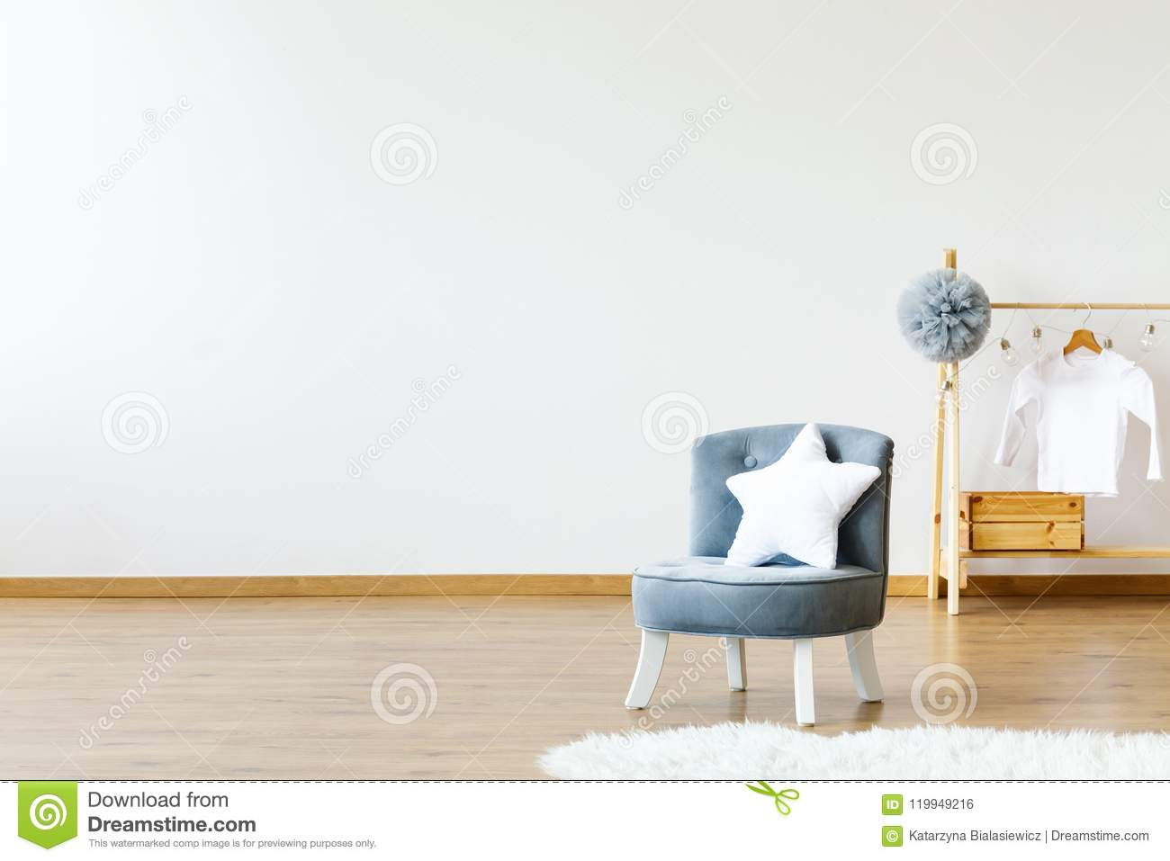 Star Shaped White Pillow Placed On Small Armchair Standing ...