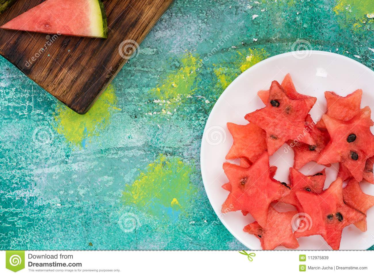 Star shapes cut off from fresh watermelon