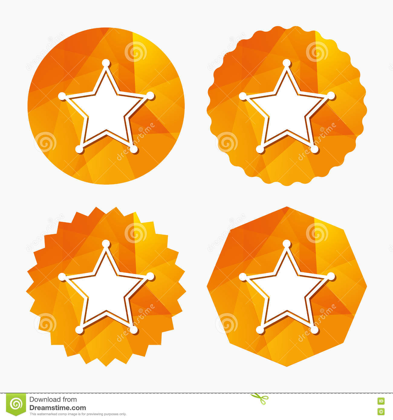 Star Sheriff Sign Icon  Police Button  Stock Vector