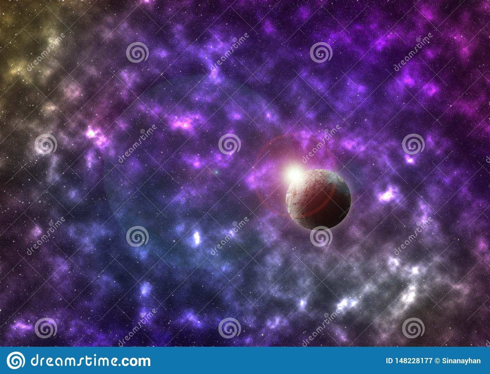 Vector bright colorful cosmos illustration with planet