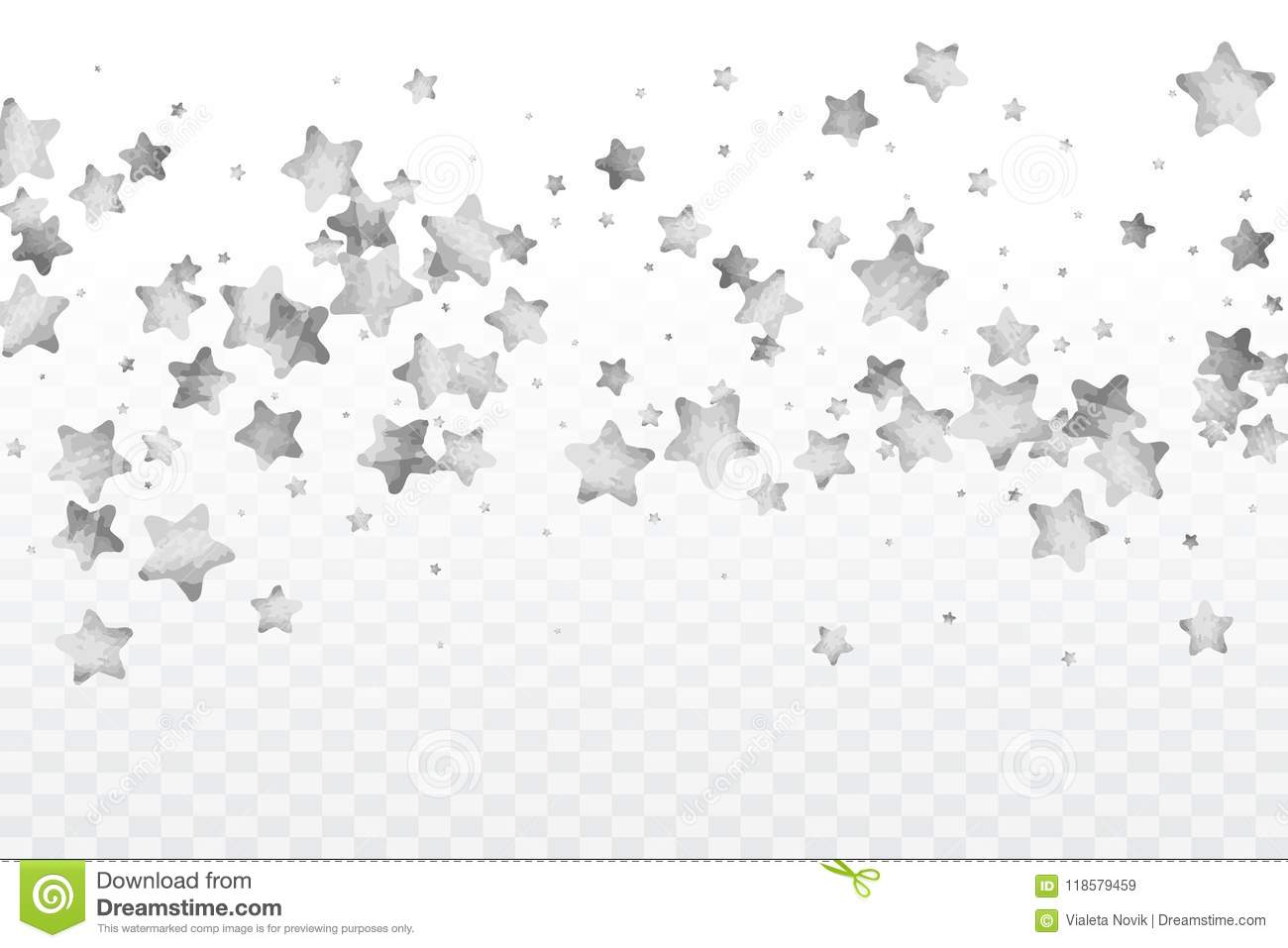 Silver glitter falling stars. Silver sparkle star on white.