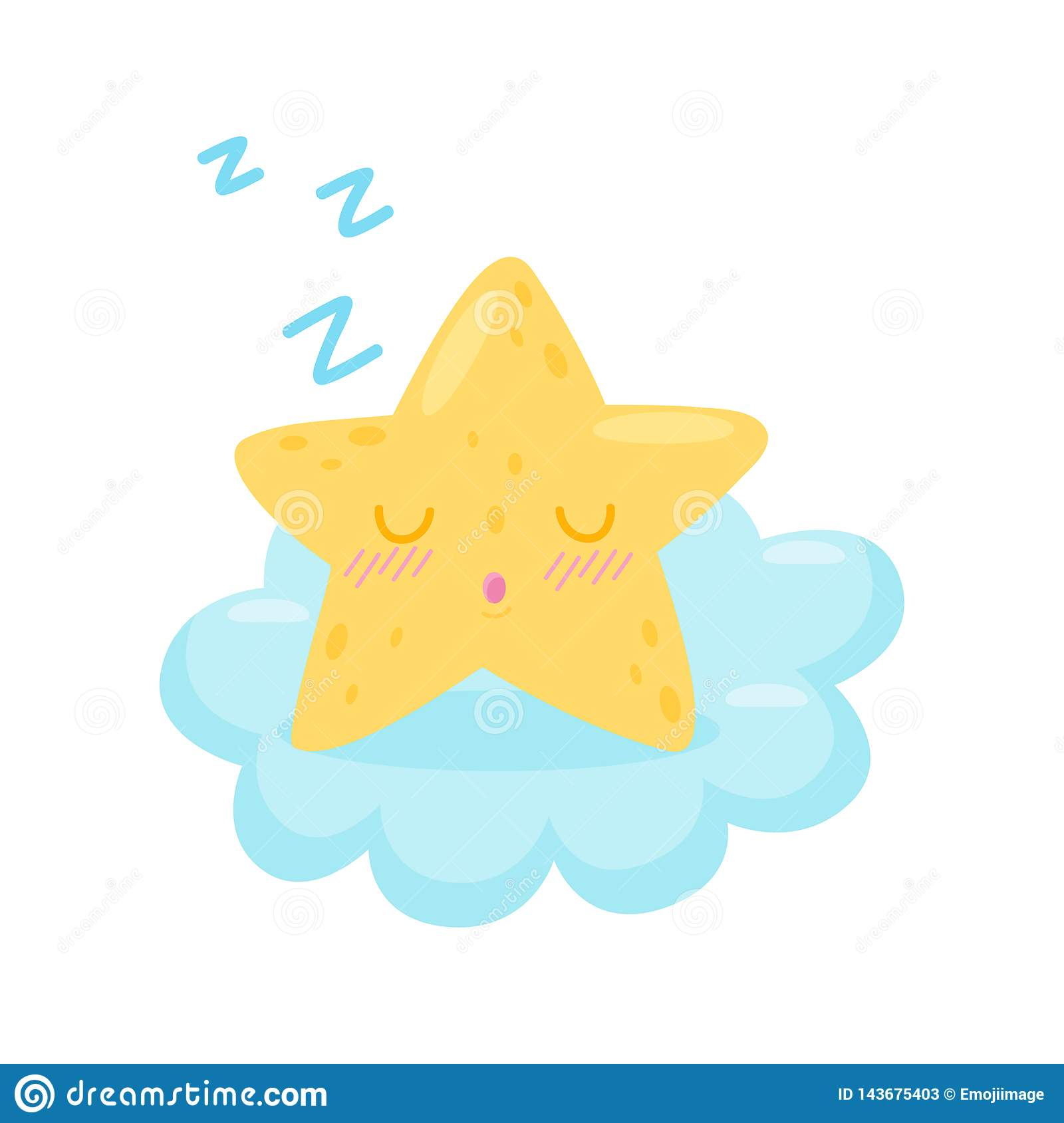 Star sleeping on cloud on white background.