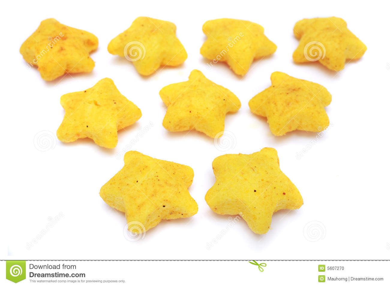 pile of yellow snacks in star shape on white background.