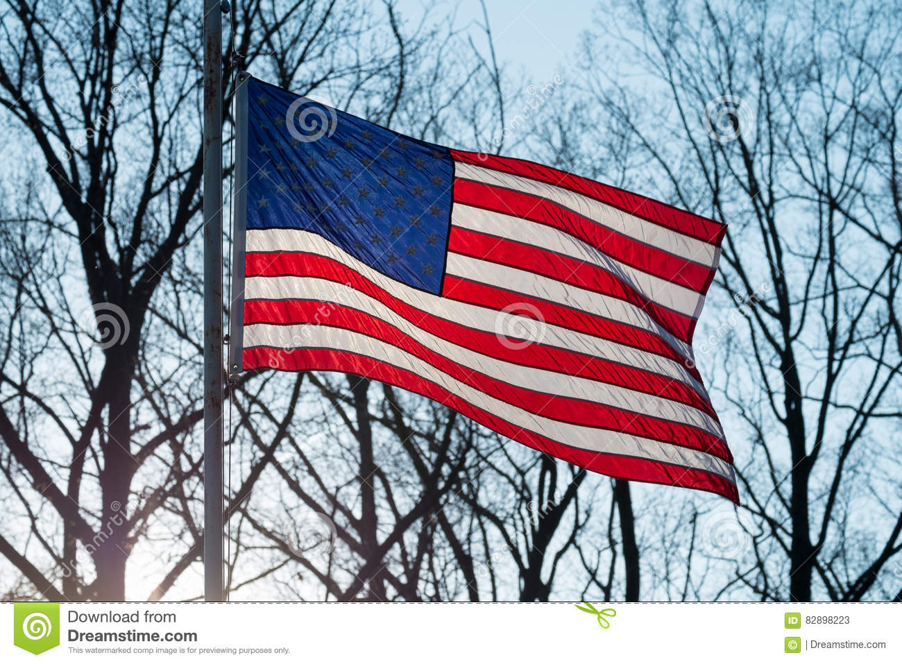 American flag waving in the wind at sunset with trees in the background b72d321655b