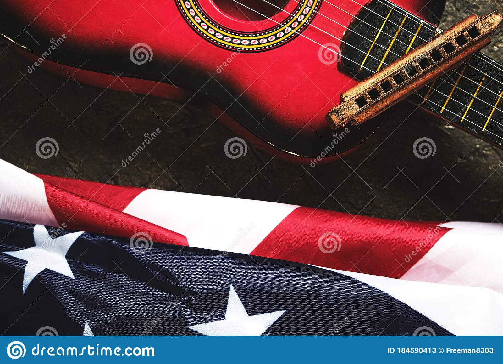 Star Spangled Banner Guitar And Harmonica Musical Instrument And Flag Of The United States Of America Stock Image Image Of Reflection Flag 184590413