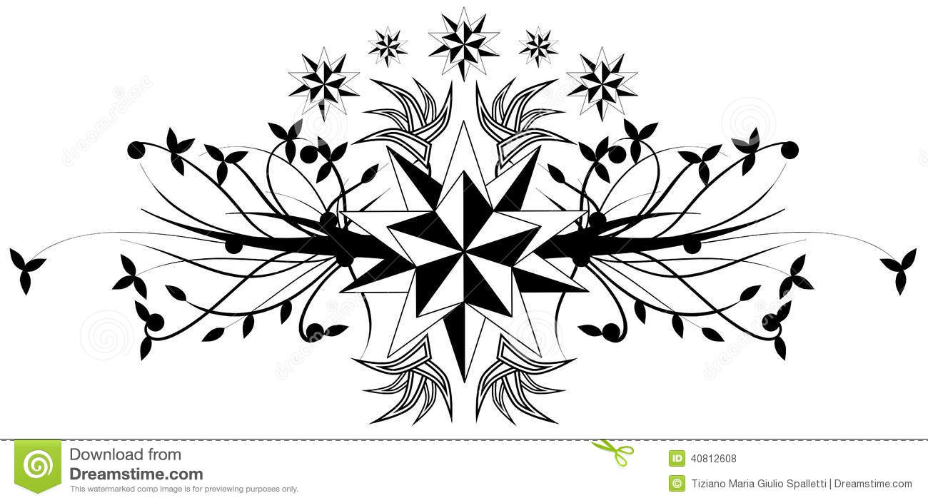 Star Tattoo In Black And White Isolated Stock Vector