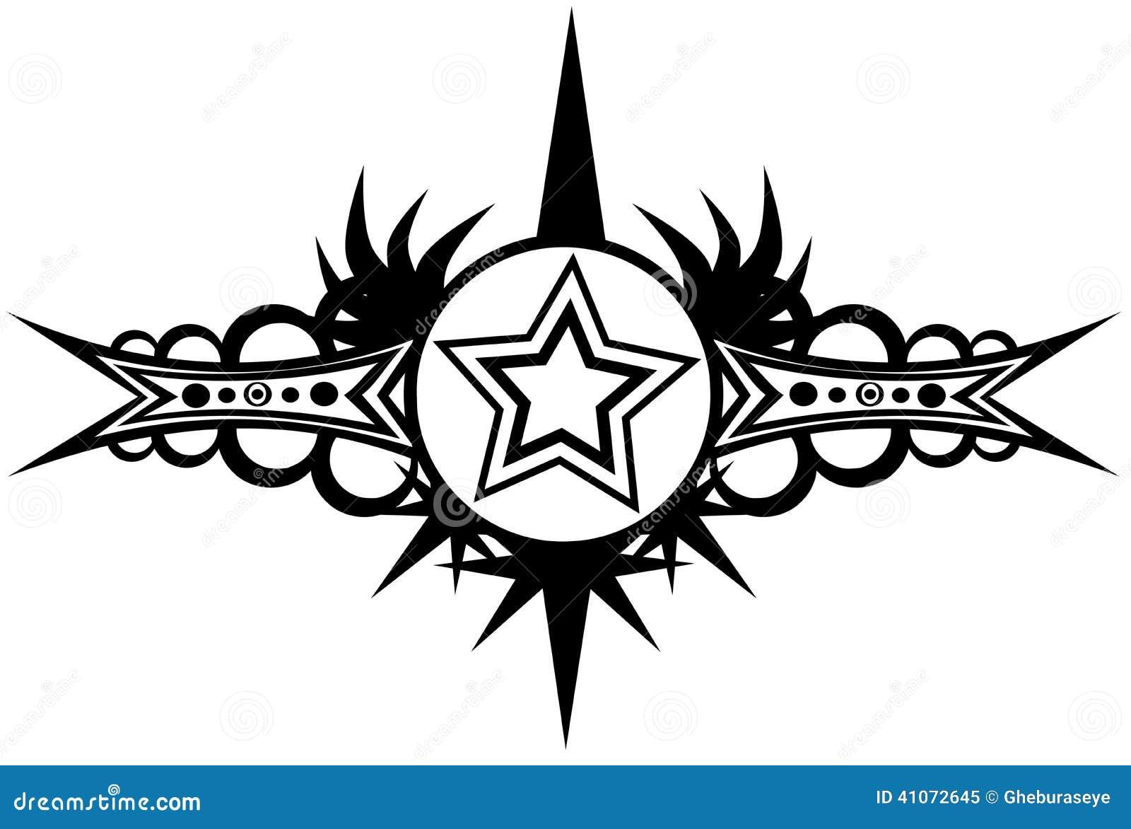 Star tattoo in black and white stock illustration image 41072645 - Dibujos tribales para tatuar ...