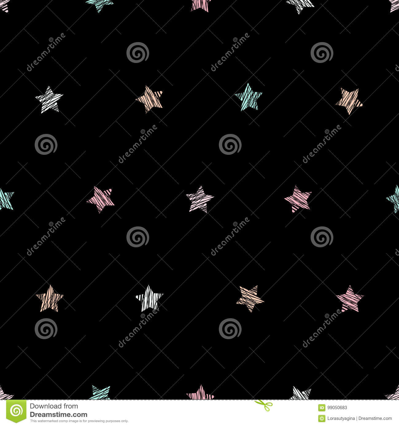 Star Texture Seamless Pattern Black Background Stock Vector