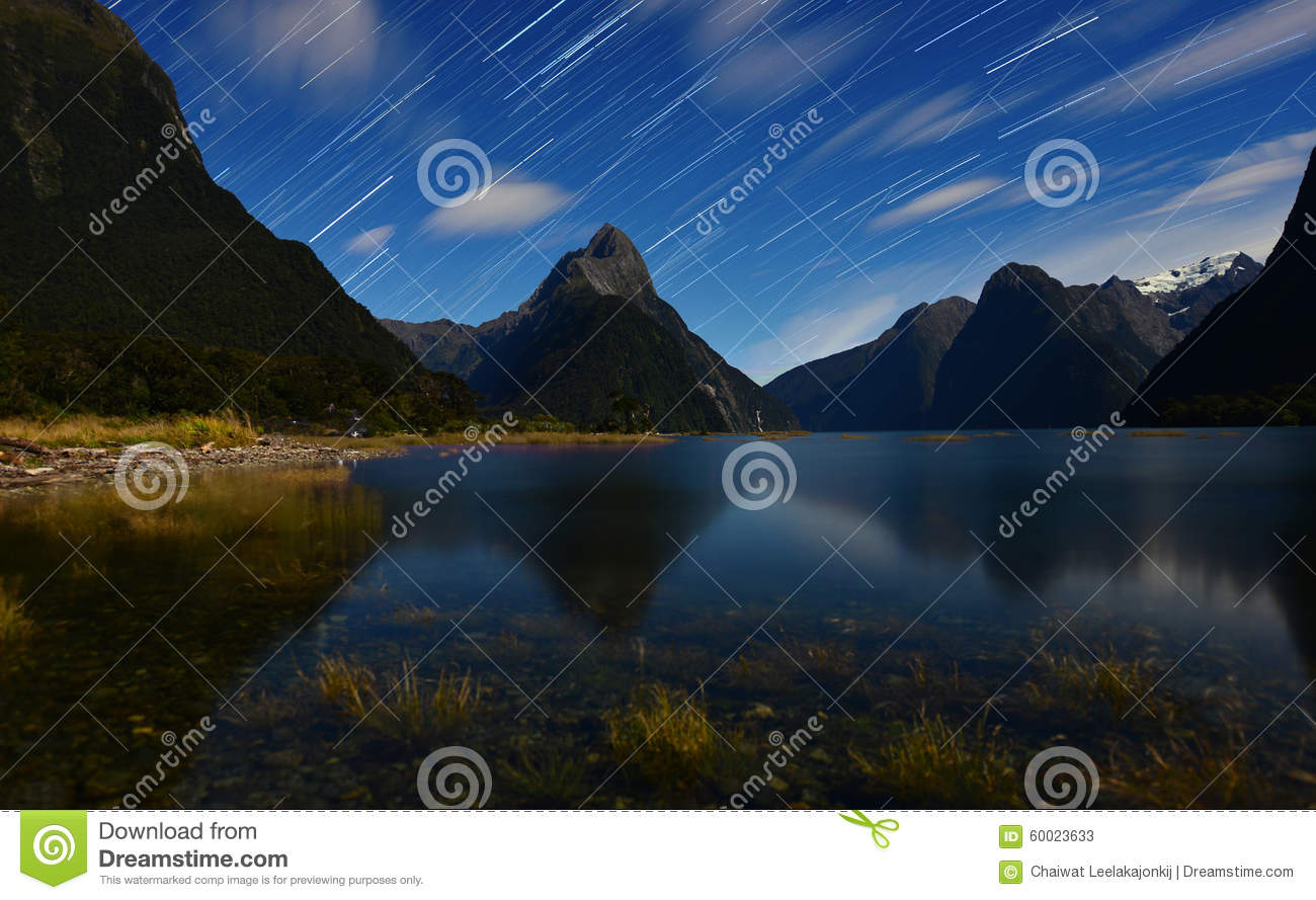 Star trail from Milford sound.