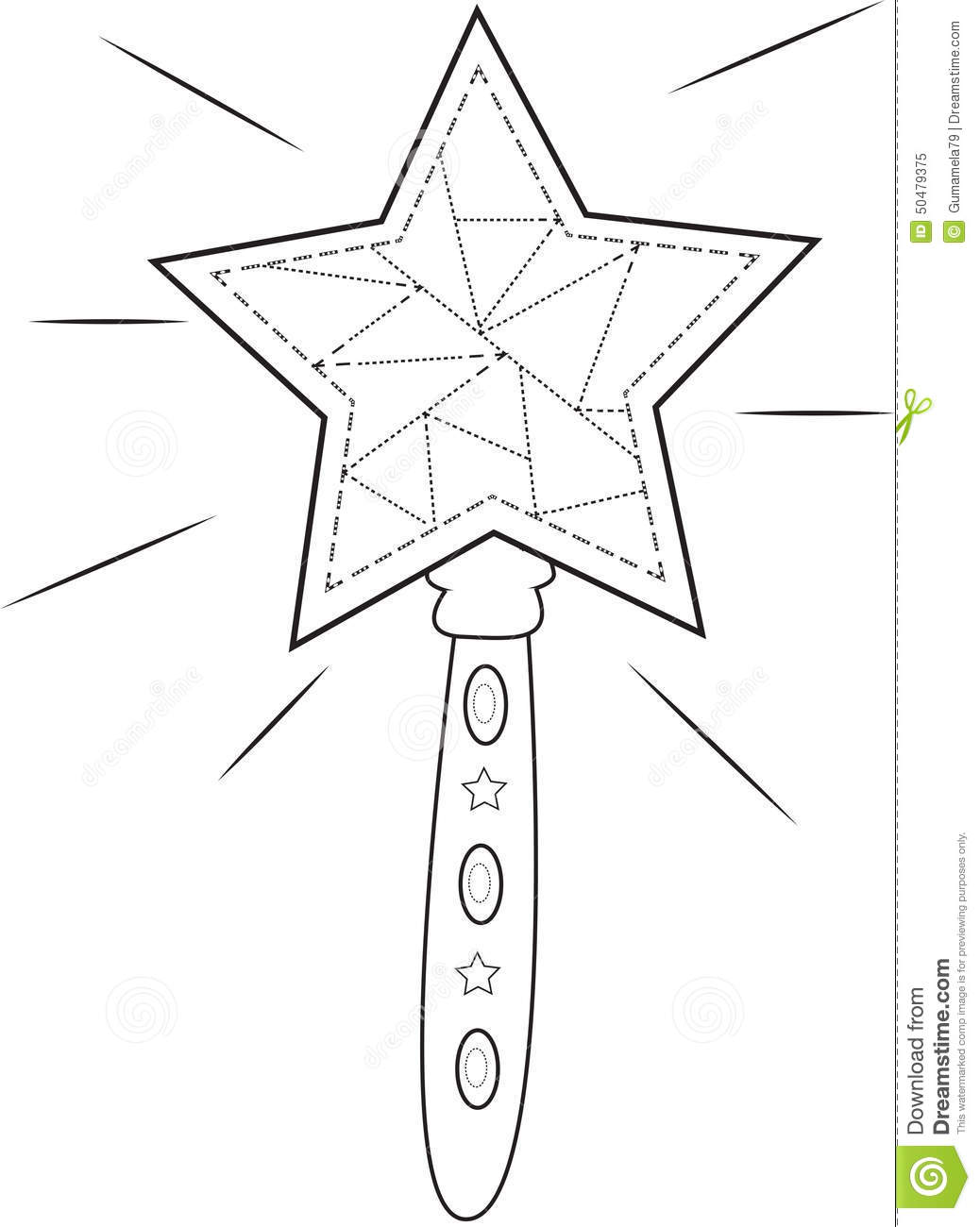 Star Wand Coloring Page Stock Illustration Image 50479375