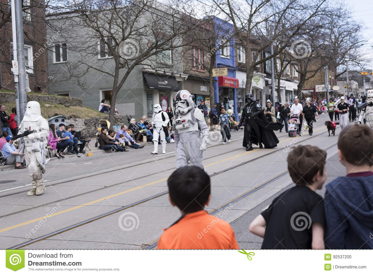 The Star Wars characters walk along the Queen St E Toronto during the Beaches Easter Parade 2017
