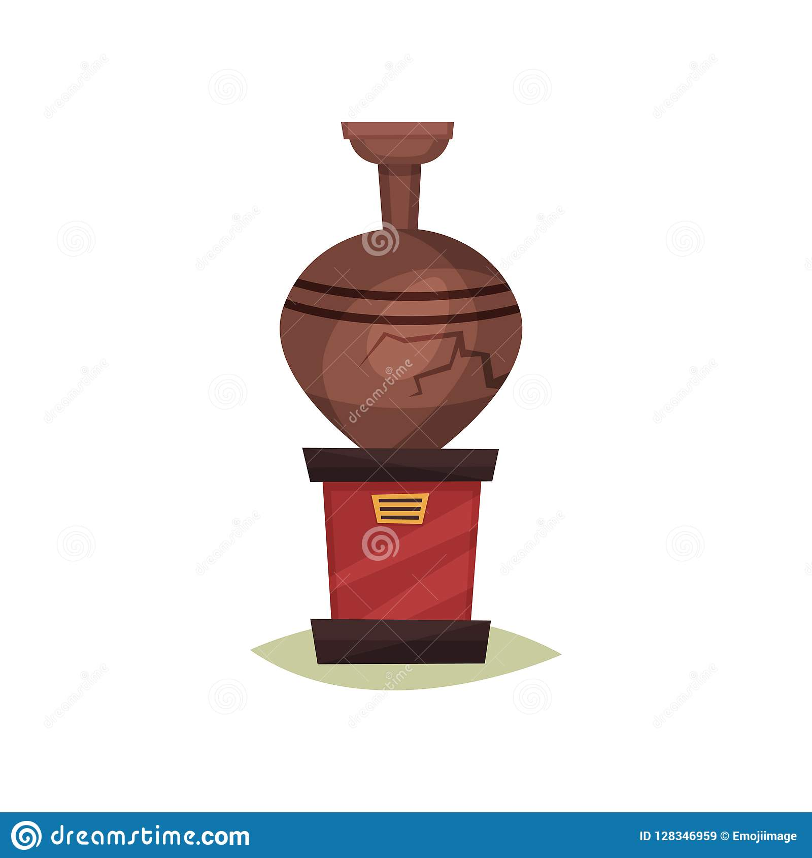 Stara brown ceramiczna waza z pęknięciem na czerwień stojaku starożytna o amphorze Eksponat dziejowy muzeum Płaska wektorowa ikon