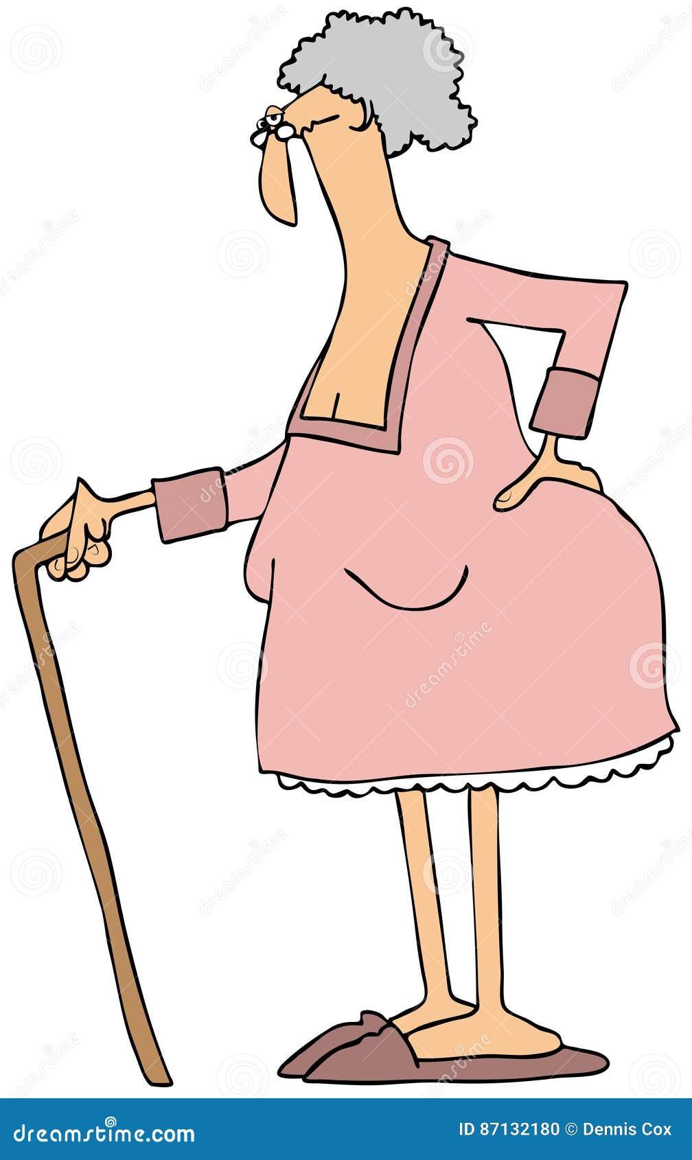 Stara dama z trzciną
