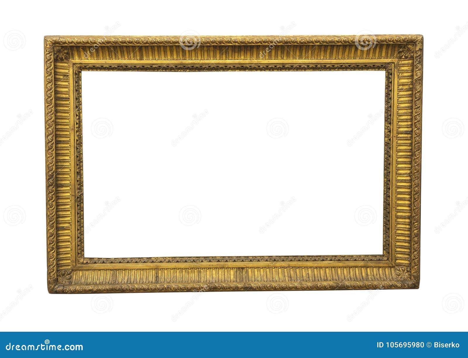Stara kwadratowa drewniana obrazek rama w złocistym colour
